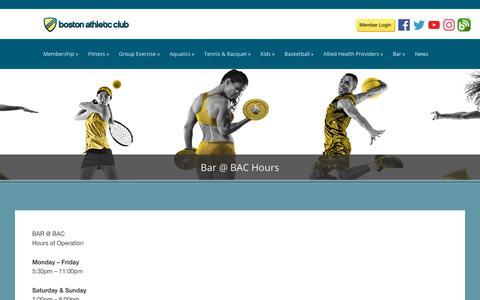 Screenshot of Hours Page bostonathleticclub.com - Bar @ BAC Hours | Boston Athletic Club - captured Aug. 3, 2018