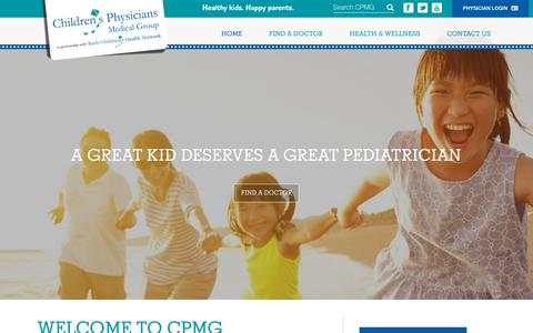 Screenshot of Home Page cpmgsandiego.com - San Diego Pediatricians - Children's Physicians Medical Group - captured Oct. 21, 2018