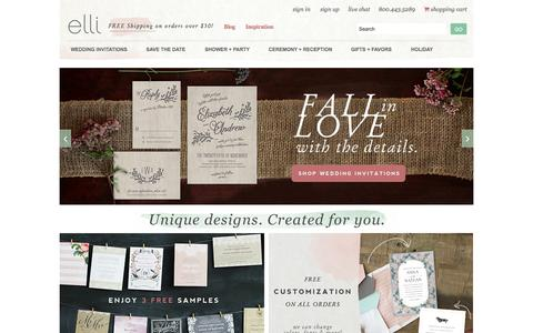 Screenshot of Home Page elli.com - Wedding Invitations and Save the Date Cards by Elli - captured Sept. 16, 2014