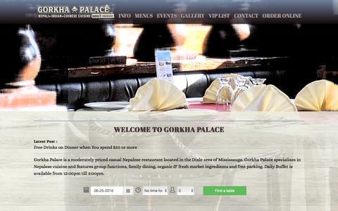Screenshot of Home Page gorkhapalace.ca - Gorkha Palace | 1855 Dundas St. E, Mississauga, ON | (905) 593-2059 - captured June 26, 2016