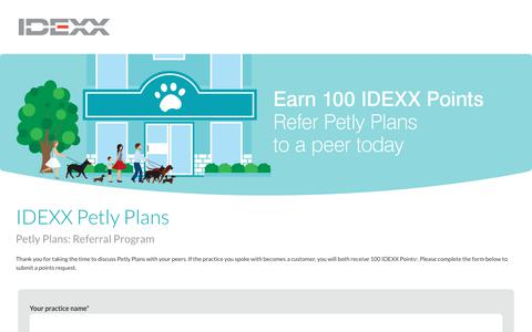 Screenshot of Landing Page idexx.com - Petly Plans Referral Program - captured July 10, 2017