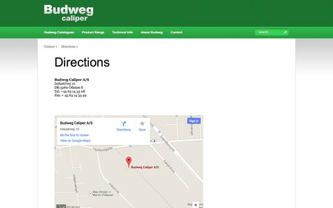 Screenshot of Maps & Directions Page budweg.com - Directions - captured Oct. 5, 2014