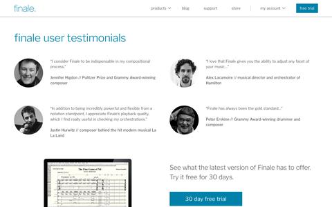 Screenshot of Testimonials Page finalemusic.com - Finale Testimonials | What Influential Users Love About Finale - captured Oct. 18, 2018