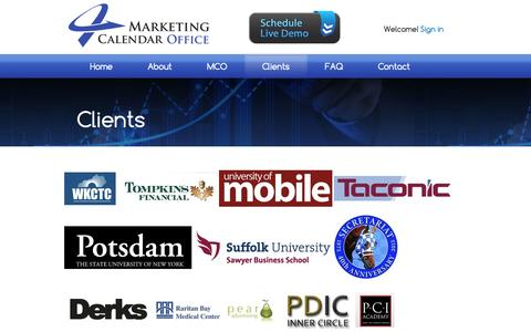 Screenshot of Testimonials Page marketingcalendaroffice.com - Clients | Marketing Calendar Office - captured Sept. 30, 2014