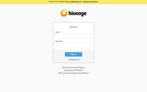 Screenshot of Login Page hiveage.com - Hiveage Launchpad - Login to Your Account - captured Sept. 19, 2014