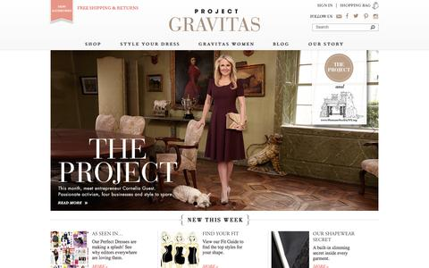 Screenshot of Home Page projectgravitas.com - Project Gravitas | Stunning dresses, Italian fabrics, luxury tailoring, hidden shapewear, and made in NYC - captured Oct. 3, 2014