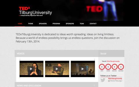 Screenshot of Home Page tedxtilburguniversity.nl - Home - TEDxTilburgUniversity 2014   Living Limitless - captured Sept. 30, 2014