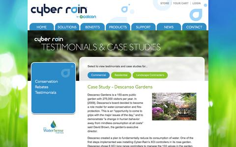 Screenshot of Testimonials Page cyber-rain.com - Cyber Rain Testimonials, Cyber Rain Case Studies,  Remote Irrigation Controllers,  Smart Irrigation - captured Nov. 3, 2014