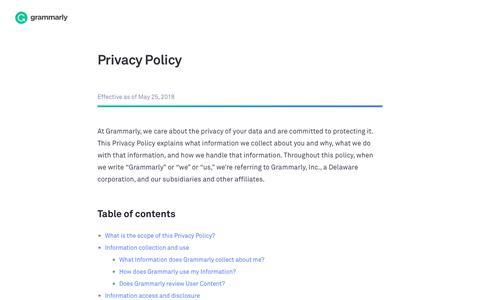 Privacy Policy | Grammarly