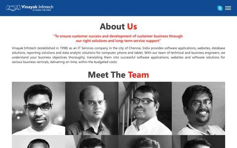 Screenshot of About Page vinsinfo.com - About Vinayak Infotech - captured Oct. 20, 2018