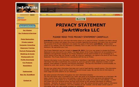 Screenshot of Terms Page jwartworks.com - Privacy - captured Oct. 6, 2014