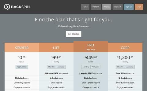 Screenshot of Pricing Page backspinit.com - BackSpin: Pricing and plans - captured Oct. 5, 2014