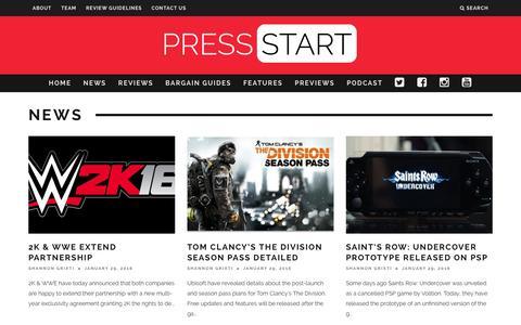 Screenshot of Press Page press-start.com.au - News | Press Start Australia - captured Jan. 31, 2016