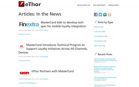 Screenshot of Press Page ethor.com - In the News Archives | eThor - captured Sept. 20, 2016