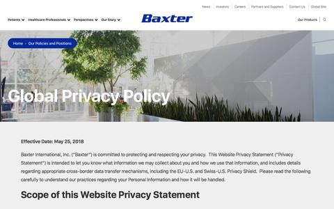 Screenshot of Privacy Page baxter.com - Global Privacy Policy | Baxter - captured July 6, 2018