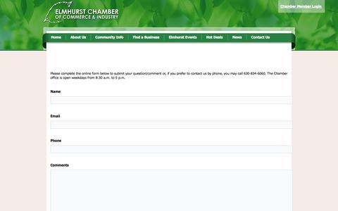 Screenshot of Contact Page elmhurstchamber.org - Contact Us - captured Oct. 2, 2014