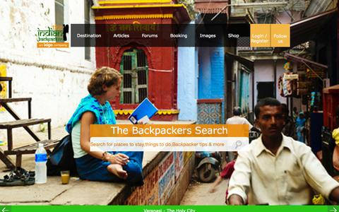 Screenshot of Home Page indianbackpacker.com - The Indian Backpacker | Budget Travel guide to India with free Guidebooks,Cheapest Hostels,Flights,Insurance,Buses and Adventure - captured Oct. 29, 2015