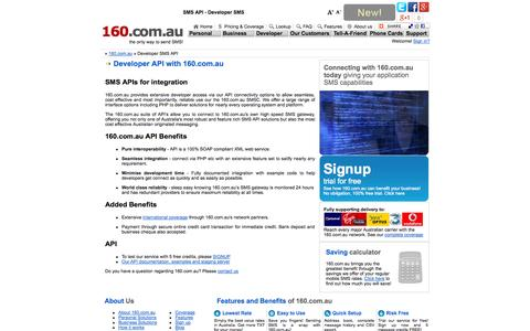 Screenshot of Developers Page 160.com.au - SMS API, Developer SMS - captured Oct. 31, 2014