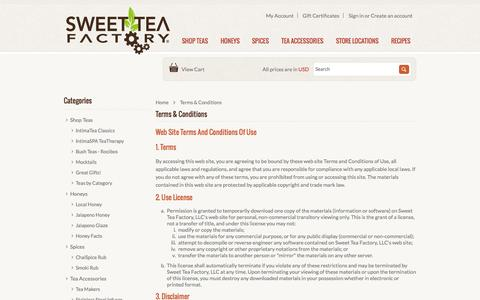 Screenshot of Terms Page sweetteafactory.com - Terms & Conditions - captured Oct. 26, 2014