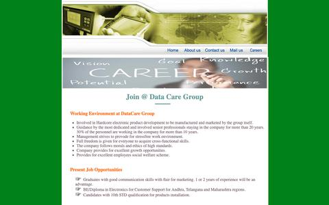 Screenshot of Jobs Page datacareindia.com - ::: DATA CARE GROUP ::: - captured Sept. 30, 2018