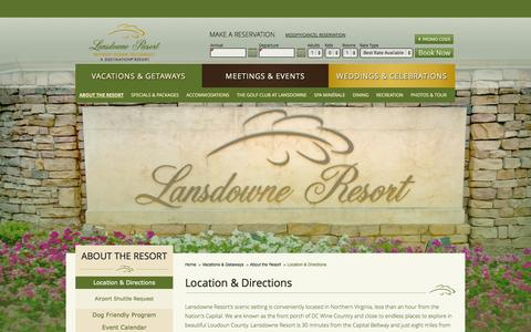Screenshot of Maps & Directions Page lansdowneresort.com - Resorts by Dulles Airport   Lansdowne Resort - Location & Directions   Resorts Northern Virginia - captured Sept. 29, 2014