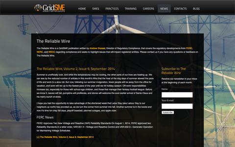 Screenshot of Press Page gridsme.com - Utility Power System Consulting | Newsletter - captured Oct. 3, 2014