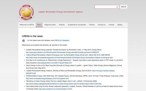 Screenshot of Press Page ladakhenergy.org - Ladakh Renewable Energy Development Agency - LREDA in the news - Press and media articles - captured Oct. 1, 2014