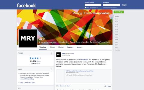 Screenshot of Facebook Page facebook.com - MRY - New York, NY - Advertising Agency, Marketing Consultant | Facebook - captured Oct. 23, 2014