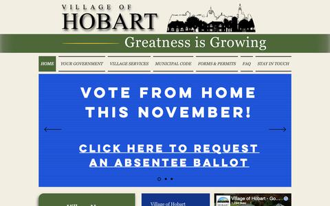 Screenshot of Home Page hobart-wi.org - Village of Hobart | Hobart, Wisconsin - captured Oct. 19, 2018