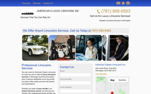 Screenshot of Home Page amerclasslimoma.com - Limousine and Sedan Services - American Classic Limousine Inc - Wilmington - MA - captured Nov. 2, 2018
