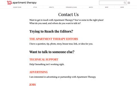Screenshot of Contact Page apartmenttherapy.com - Contact Us | Apartment Therapy - captured Nov. 18, 2019