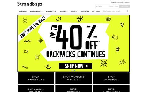 Screenshot of Home Page strandbags.com.au - Strandbags | Shop Online, Handbags, Womens Wallets,Mens Wallets,Travel, Luggage, Backpacks and Satchels - captured Jan. 18, 2016