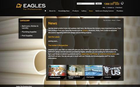 Screenshot of Press Page eaglesplumbingshop.com.au - News - Eagles The Plumbing Shop - captured Oct. 1, 2014