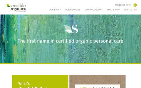 Screenshot of Home Page sensibleorganics.us - Sensible Organics | The first name in certified organic personal care - captured Oct. 7, 2014