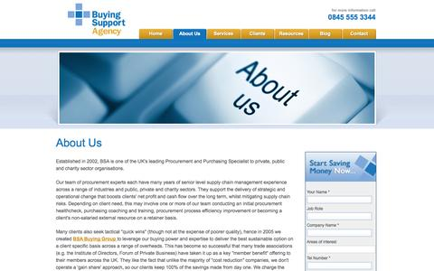 Screenshot of About Page buyingsupport.co.uk - Buying agency for advice on cutting costs and improving your procurement, including advice, training and free resources - captured Oct. 5, 2014