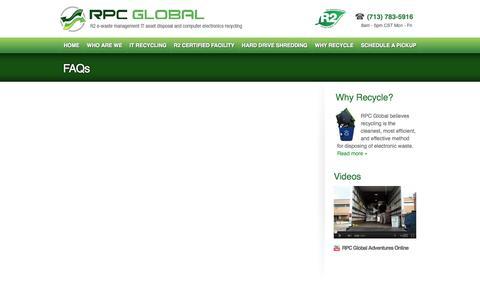 Screenshot of FAQ Page rpcglobal.net - FAQs  |  RPC Global - captured Sept. 30, 2014