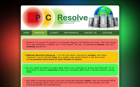 Screenshot of Services Page pcresolve.co.uk - Computer Repair & IT Support -pcresolve.co.uk - captured Feb. 2, 2016