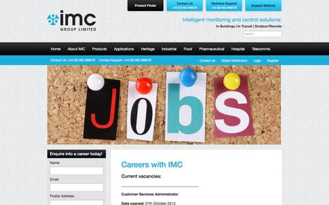 Screenshot of Jobs Page the-imcgroup.com - Careers with IMC - captured Feb. 28, 2016