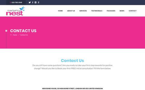 Screenshot of Contact Page marketingnest.com - Contact Us - captured Sept. 20, 2018