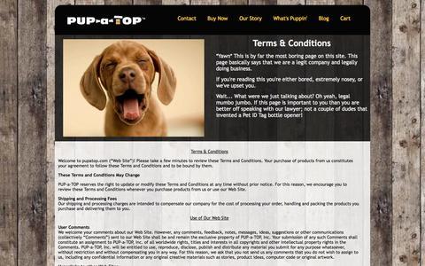 Screenshot of Terms Page pupatop.com - Terms   PUP-a-TOP - captured Oct. 1, 2014