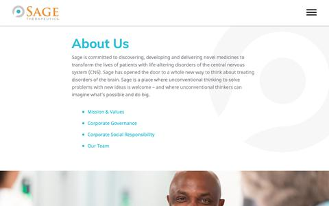Screenshot of About Page sagerx.com - About Our Central Nervous System (CNS) Disorder Treatments | Sage Therapeutics - captured Nov. 12, 2018