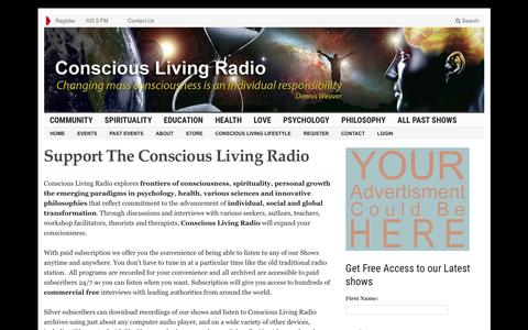Screenshot of Support Page consciouslivingradio.org - Support The Conscious Living Radio - Conscious Living Radio - captured Dec. 10, 2015