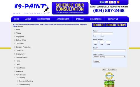 Screenshot of Site Map Page 89paint.com - Sitemap - captured Oct. 9, 2014