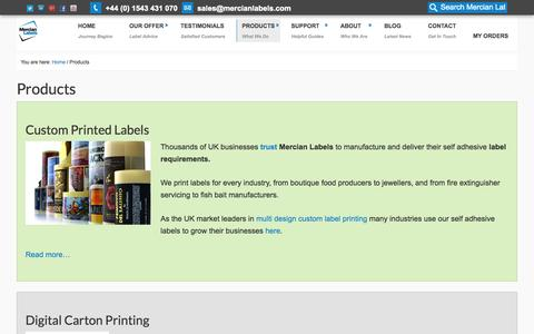 Screenshot of Products Page mercianlabels.com - Mercian Labels Product range - captured Oct. 27, 2014