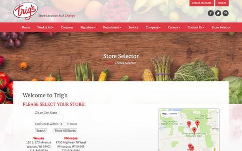 Screenshot of Locations Page trigs.com - Trig's :: Store Selector - captured Dec. 16, 2016