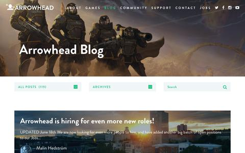 Screenshot of Blog arrowheadgamestudios.com - All posts   Arrowhead - captured July 30, 2018