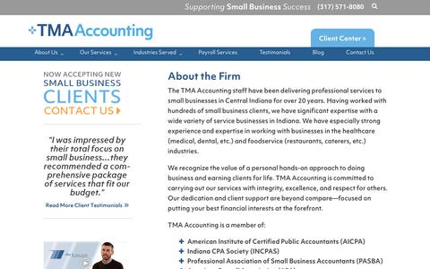 Screenshot of About Page tmasmallbusinessaccounting.com - About TMA Small Business Accounting, P.C. | Indianapolis, IndianaTMA Small Business Accounting, P.C. - captured Oct. 24, 2018