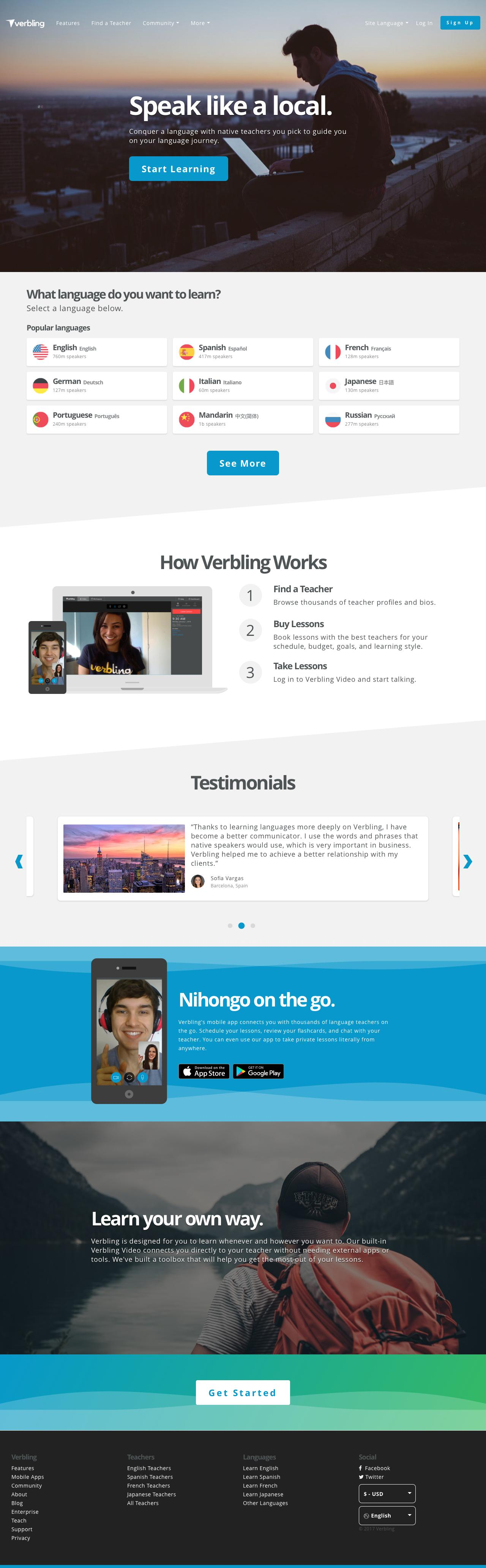 Screenshot of verbling.com - Verbling - The Modern Way to Learn a Language. - captured Dec. 1, 2017