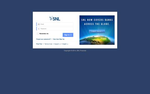 Screenshot of Login Page snl.com - SNL: Sign In - captured Sept. 23, 2014