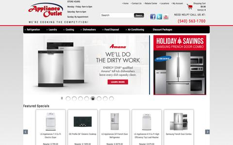 Screenshot of Home Page applianceo.com - Appliances in Roanoke VA | Appliance Outlet - captured Feb. 6, 2016